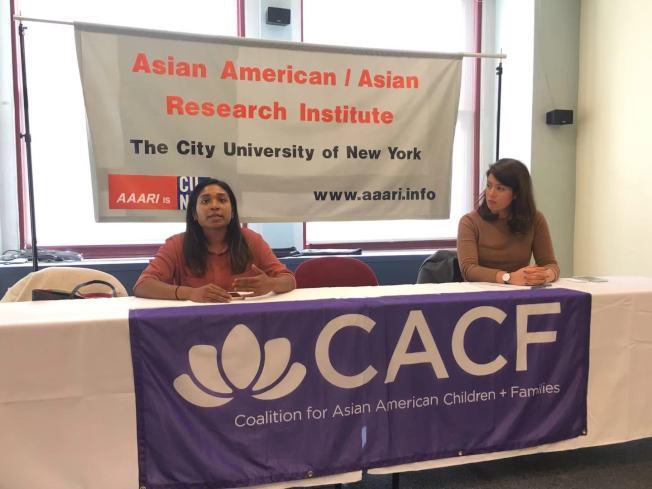 亞裔兒童與家庭聯盟支持取消SHSAT,並制定多樣化錄取標準,左為瑞曼,右為托瑞斯。(記者張筠/攝影)