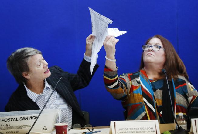 佛羅里達州參院席位競選激烈,由於州長史考特和民主黨現任參議員尼爾森只相差數千票,因此開啟了手工計票程序。圖為選務官員展示一張受損選票。(美聯社)