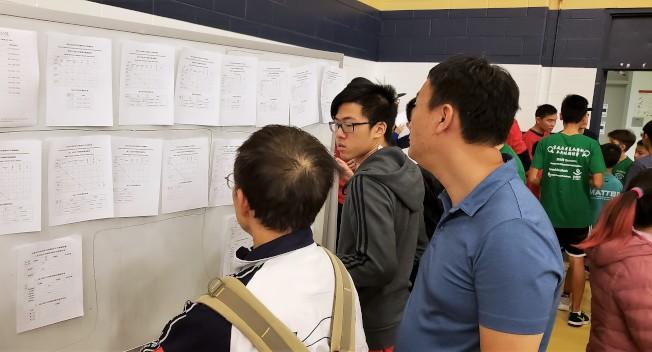 球員和觀賽者在賽程資訊公告欄前查看隨時更新和公布的信息。(記者唐嘉麗/攝影)