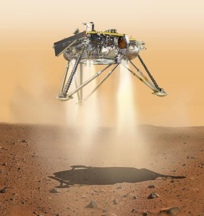 由科學家繪製的「洞察號」26日登陸火星的想像情況。(Getty Images)