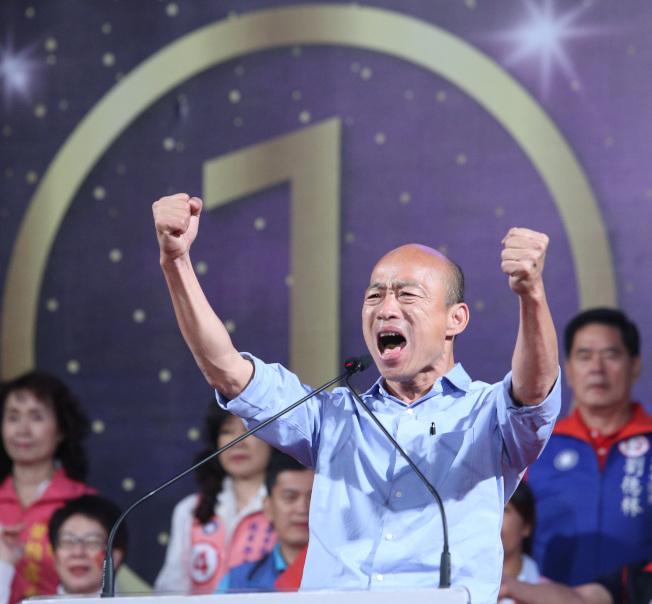 準高雄市長韓國瑜表示成立兩岸工作小組,在「九二共識」前提下,與大陸經貿溝通。(記者劉學聖╱攝影)