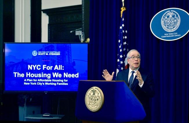 斯靜格發布「紐約為所有人:我們需要住房」報告。(市主計長辦公室提供)
