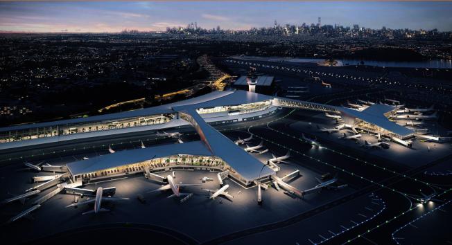 建成後的拉瓜地亞機場全景圖。(州長辦公室提供)