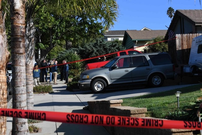 范杜縣千橡酒吧槍案現場被封鎖。Getty Images