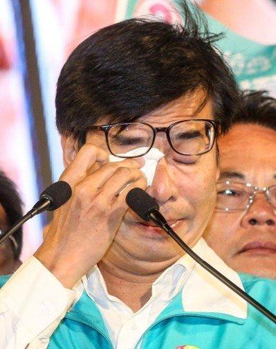 民進黨高雄市長候選人陳其邁晚間出面宣布敗選。 聯合報系資料照/記者鄭清元攝影