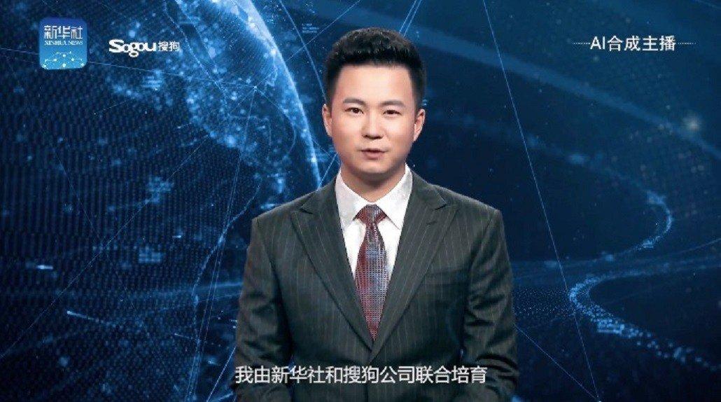 新華社發布與網路公司搜狗聯合推出的人工智慧合成主播。圖/影片擷取