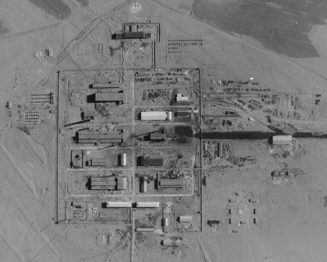 中華民國空軍第35中隊飛行員王太佑於1963年3月28日,駕U-2高空偵察機攝得之內蒙古包頭202核燃料廠。(美國國家檔案館、徐林提供)