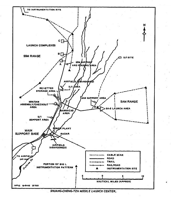 中央情報局根據中華民國空軍第35中隊的U-2高空偵照等情報資料,於1962年4月製作的甘肅雙城子飛彈試驗場(今天的酒泉衛星發射中心)示意圖。(中情局官網)