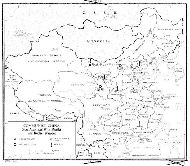 中央情報局1963年製作的中共核武與飛彈發展設施示意圖。(中情局官網、作家張維斌提供)