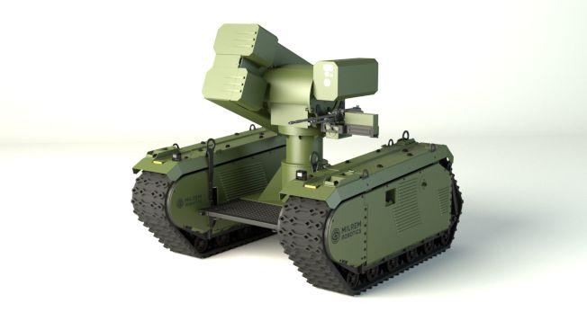 愛沙尼亞的米爾蘭姆機器人公司發展出一款叫作THeMIS的機器人,全名為「履帶混合模組化步兵系統」。(取自Milrem Robotics)