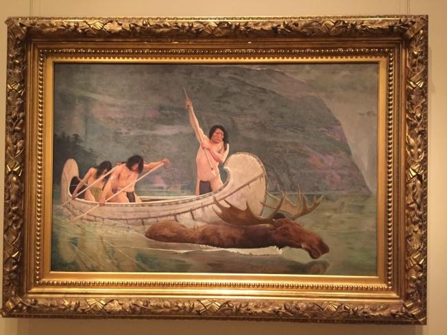 國家肖像畫廊展出的印地安人打獵圖。