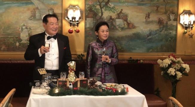 李昌鈺(左)和蔣霞萍(右)婚禮後舉行喜宴。(記者牟蘭/攝影)