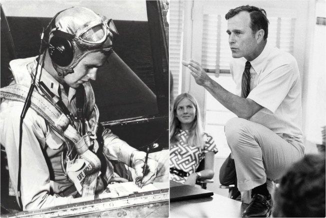圖左為二戰期間,準備出轟炸任務的飛官老布希;圖右則是1970年,作為共和黨新秀、意氣風發的德州眾議員老布希。 美聯社