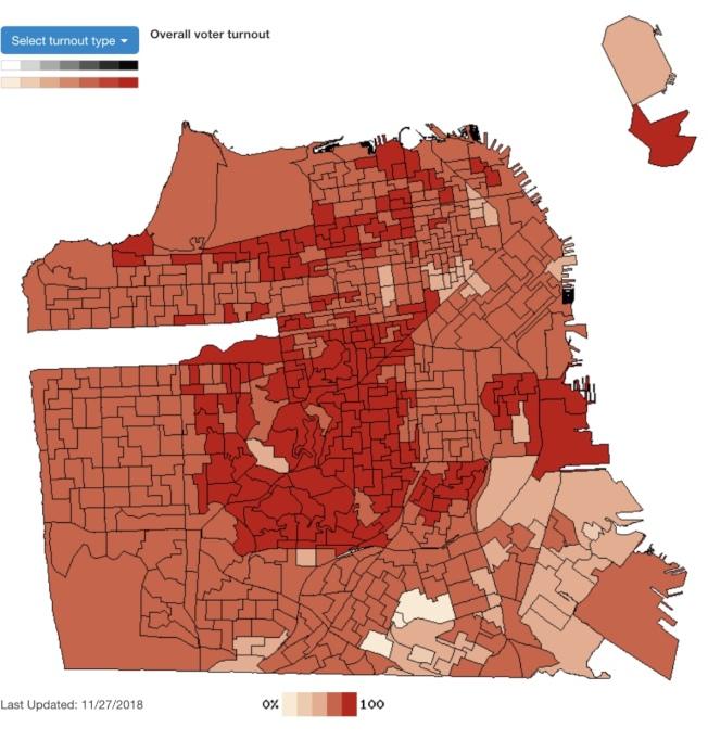 舊金山選務處公布11月選舉結果圖,顏色愈深的投票率愈高,可見華人聚居的華埠、肖化、訪谷、海景及日落區均低於全市平均投票率。(圖來自舊金山選務處)