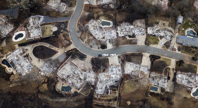 加州山林大火重災區的天堂鎮。(美聯社)