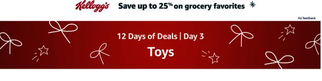 亞馬遜這次推出的「連續12天商品特價活動」,第三天(4日)是玩具特價。(亞馬遜網站)