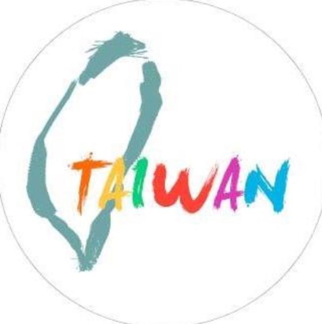大头贴也换成以白底、湖水绿勾勒出的台湾形状,配上彩色文字Taiwan。(驻洛杉矶台北经济文化办事处粉丝专页)