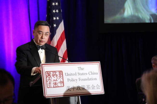 美中政策基金會舉行成立23周年年會,中國駐美大使館公使李克新在會上談中美關係。(記者羅曉媛/攝影)