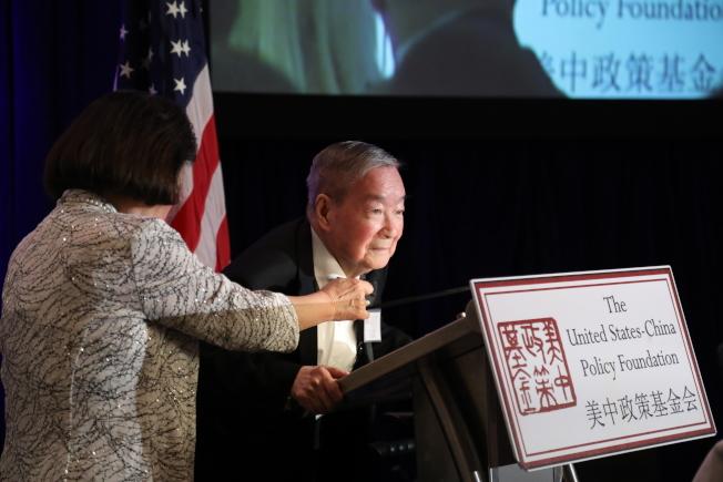 美中政策基金會舉行成立23周年年會,創始人王冀致辭。(記者羅曉媛/攝影)