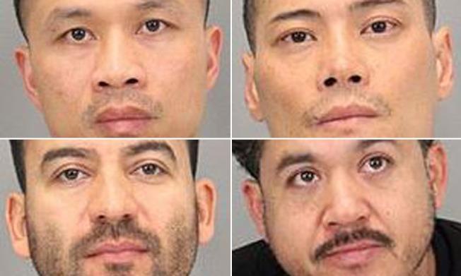 聖荷西警方宣布偵破一個販毒集團,並逮捕四人,四人都是聖荷西居民,其中兩人為越裔,包括上圖左上方的安東尼‧黎(Anthony Le)和右上方的巴里‧范(Barry Phan)。(圖:聖荷西警方)