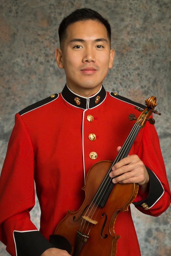 王光宇日前參與老布希的葬禮演出。(「美國海軍室內管弦樂團」提供)