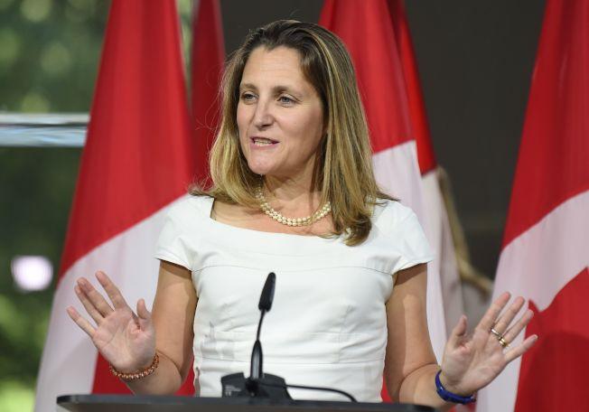 加拿大外交部長方慧蘭表示,決定應美方要求發布臨時逮捕令,是由「官員階層」處理,加拿大一切遵循正當程序。Getty Images
