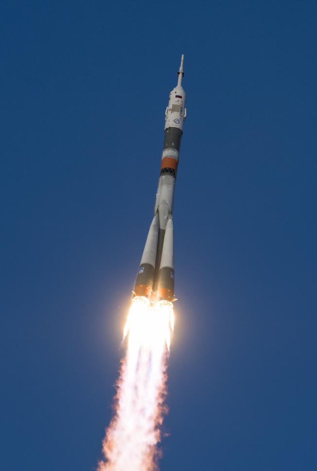 俄羅斯聯合號火箭3日從哈薩克貝康諾太空發射場升空。(美聯社)
