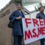 孟晚舟保釋聽證持續中 民眾舉牌抗議加國