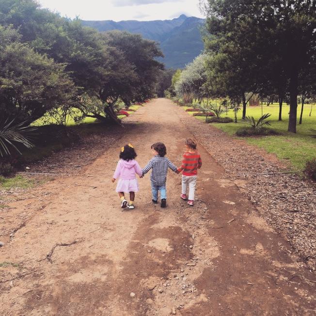 孩子們在農場中漫步。(Sean Kelly提供)