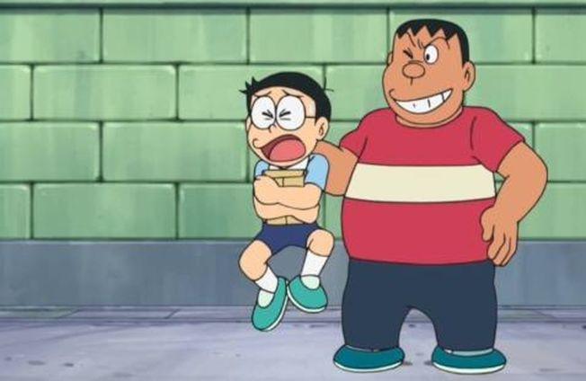 卡通「哆啦A夢」中胖虎和大雄變成性教育課程講師大賽的性教育案例。(取材自微博)