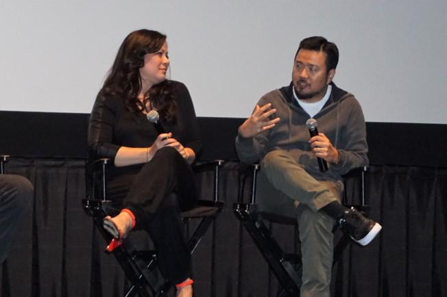 李小龙女儿李香凝(左)和好莱坞华裔导演林诣彬,出席「战士」(Warrior)在好莱坞举办的试映会和座谈。(记者马云/摄影)
