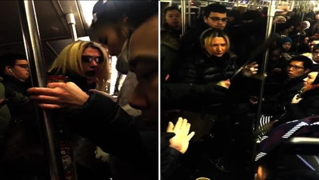 Anna Lushchinskaya(圖中金髮女子)在地鐵上莫名攻擊一名華裔女子。(臉書截圖)