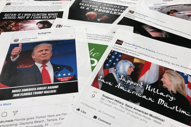 參院報告中的社群媒體假消息截圖。(美聯社)