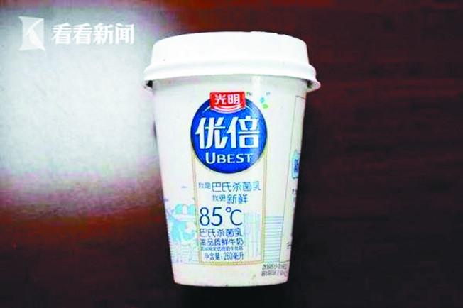 光明優倍鮮牛奶之前包裝上標示85℃。(取材自看看新聞)