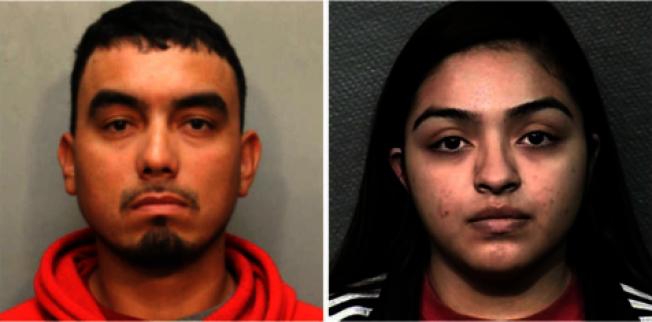 布朗柯(左)和艾斯奎維將2歲女兒忘在車內熱死,夫妻倆被起訴。(哈瑞斯縣警方提供)