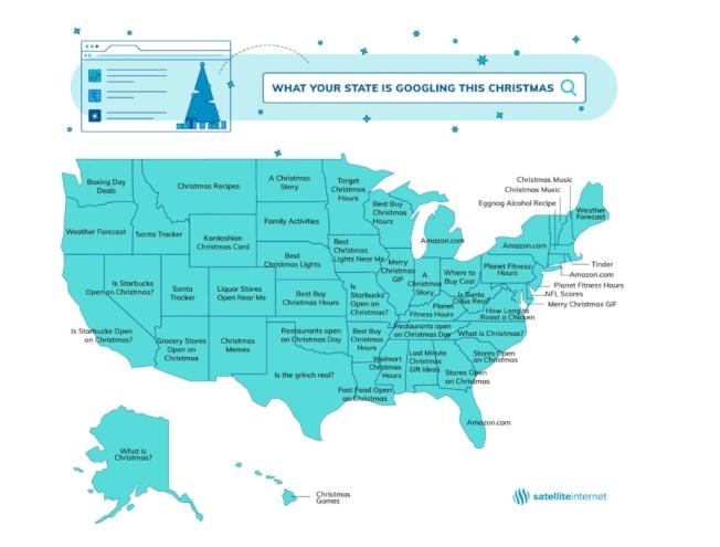 全美各州在耶誕假期都在網路上搜尋什麼呢?圖/截取自satellite網站