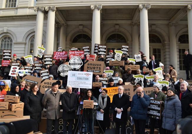 亞馬遜進駐紐約市,因為通過「土地使用統一評估程序」已遭市議會和多個維權組織的反對。本報檔案照)