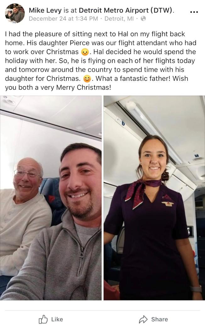 為了陪空姐女兒過節,老爸特別搭機陪飛。(臉書截圖)