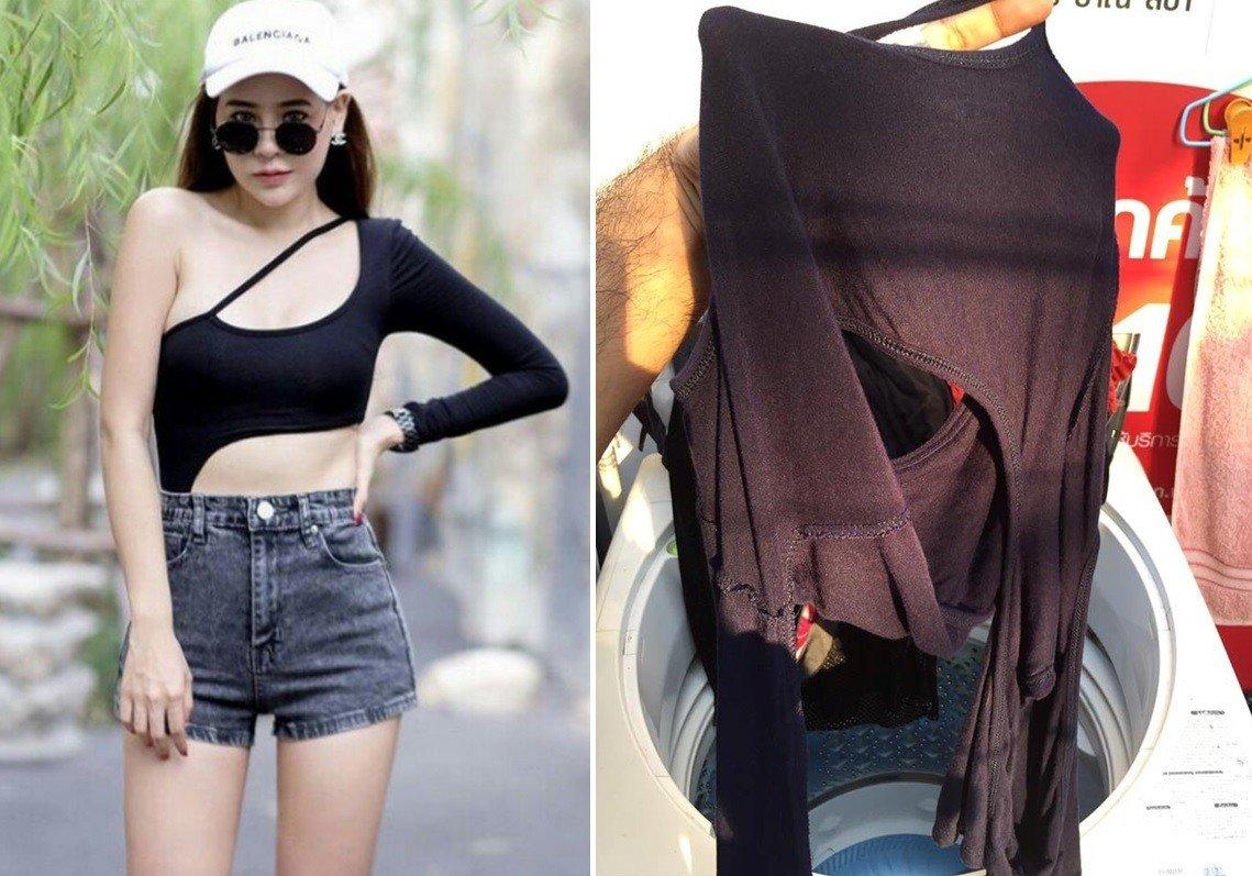 泰國一名男子將老婆的上衣放上網路,並求問網友「這種衣服到底要怎麼曬?」圖片來源/Facebook