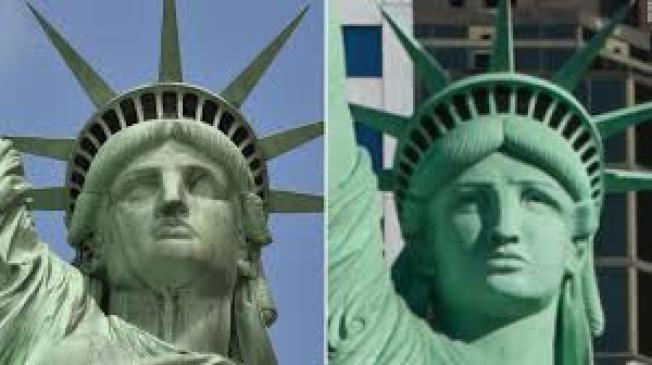 左圖為紐約港的自由女神像,右圖為藝術創作的自由女神像。(CNN)