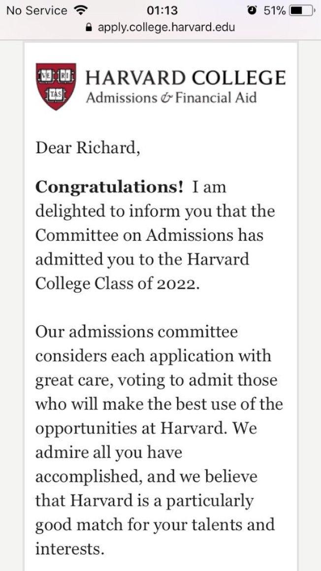 詹金斯收到哈佛大學錄取通知。(取材自推特)