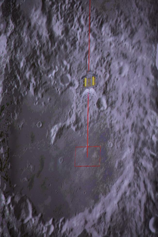 中國國家航天局說,北京時間1月3日10時26分,嫦娥四號探測器在月球背面的預選著陸區成功著陸,圖為3日在北京航天飛行控制中心拍攝的降落過程(示意圖)。(新華社)