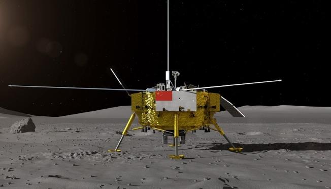 中國嫦娥四號登陸「月球背面」。(新華社)