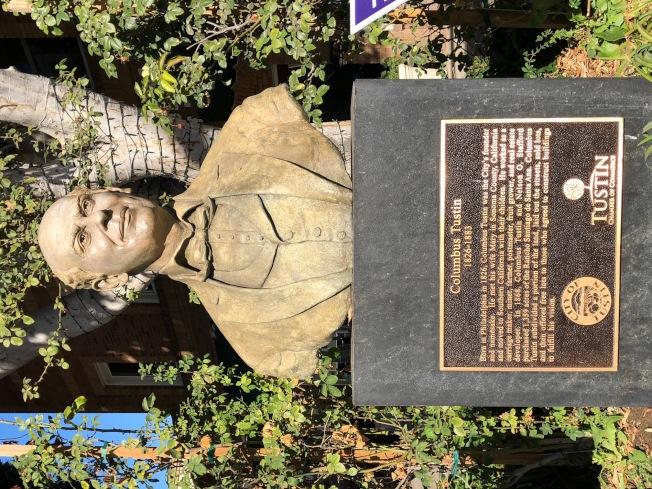 以打造篷車致富的Columbus Tustin,是托斯汀的建市之父,早在1870年代就買下1300英畝土地。(記者胡清揚/攝影)