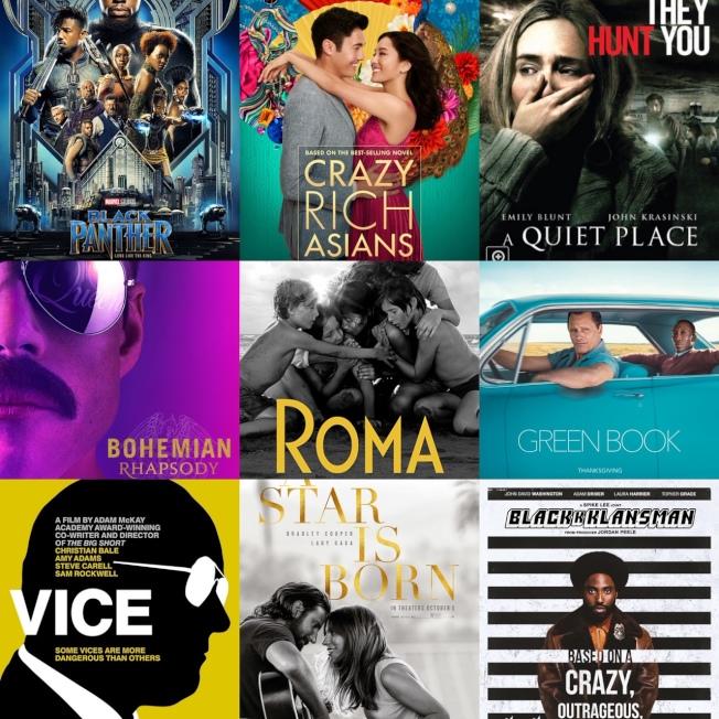 十部作品入圍製片人工會獎最佳影片,包括超級英雄、愛情喜劇、科幻驚悚、人物傳記等多個題材。(電影公司提供)