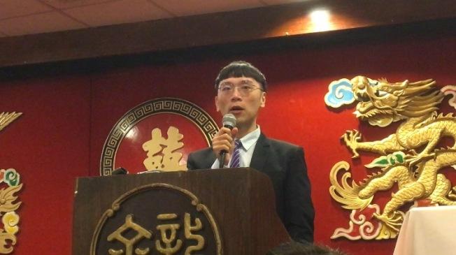 洛僑中心新任副主任簡槙男以粵語「大家好」開場問候。(記者謝雨珊/攝影)