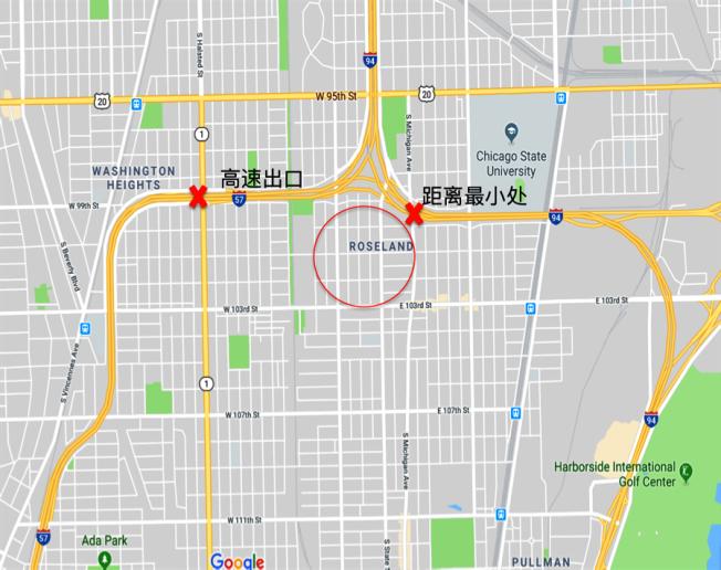 史弋宇使用被劫車輛上的軟體,找到失車(紅圈)的相對位置。(史弋宇提供)