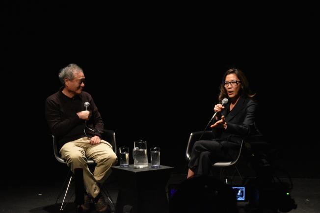 李安(左)與楊紫瓊(右)7日晚間在皇后區移動影像博物館與影迷對談。(記者顏嘉瑩/攝影)