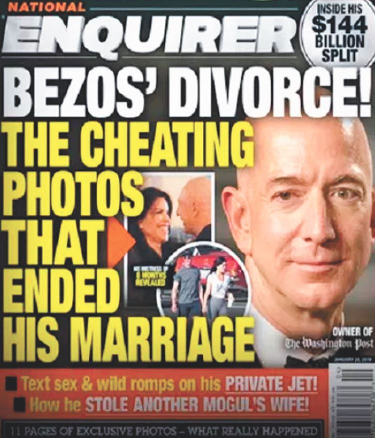 八卦雜誌National Enquirer把貝佐斯離婚放上封面。(National Enquirer)