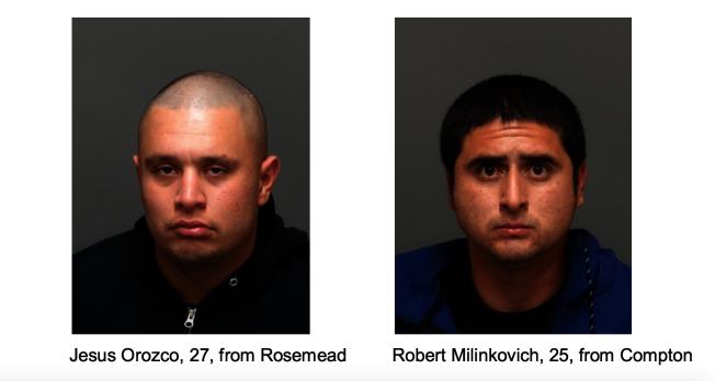 Jesus Orozco(左)與Robert Milinkovich涉嫌入車盜竊被逮捕。(蒙特利公園市警局提供)